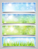 Spring Banners. Collection of Spring Banners with Bokeh Effect Royalty Free Stock Photography
