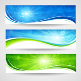 Spring banners. Collection of colored banners with bright light. Vector Stock Photo