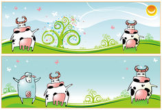 Spring  banners  Cows  sheep Royalty Free Stock Image