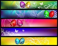 Spring banners with eggs Stock Photos
