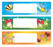 Spring banners with funny insects Royalty Free Stock Photo