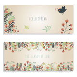 Spring banners with hand drawn plants and cute bird flying Stock Photo