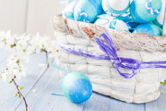 Spring basket Easter eggs blue tone Royalty Free Stock Image