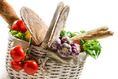Spring basket full of fresh vegetables Royalty Free Stock Photos