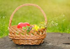 Spring basket with heart shape Royalty Free Stock Photo