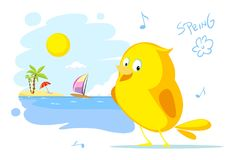 Spring on the beach bird ssinging flat vector Royalty Free Stock Photos