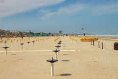 Spring beach. Preparing for the season. Cervia, Italy Stock Image