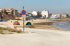 Spring beach on the waterfront in Pomorie, Bulgaria Royalty Free Stock Photos