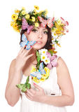 Spring beautiful girl with flower. Stock Photos