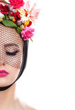 Spring beautiful girl in veil with flowers in her hair. Royalty Free Stock Photos