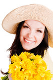 Spring Beautiful Woman Holding Flowers Over White Stock Photo