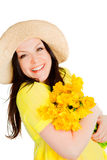 Spring Beautiful Woman Holding Flowers Over White Royalty Free Stock Image