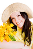 Spring beautiful woman holding flowers over white Stock Image