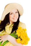 Spring Beautiful Woman Holding Flowers Over White Royalty Free Stock Photo