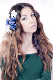 Spring Beautiful Young Woman with flower hair Royalty Free Stock Images