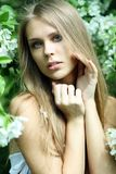 Spring beauty. Young woman on outdoor background Stock Photography