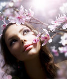 Spring Beauty with Flowers. Close-up Portrait of a Beautiful Girl with Flowers Royalty Free Stock Images