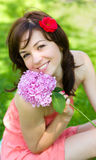 Spring Beauty Girl. Beautiful Young Woman outdoors Royalty Free Stock Photography
