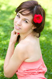 Spring Beauty Girl. Beautiful Young Woman outdoors Royalty Free Stock Photo