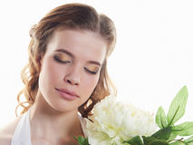 Spring beauty girl with flowers Stock Photo