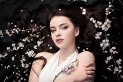 Spring beauty or woman cosmetics consept. Fashion portrait shot Stock Photos