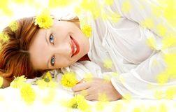 Spring beauty with yellow flowers Stock Image