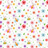 Spring Bees seamless pattern. Seamless pattern design with flowers and bees based on spring theme royalty free illustration