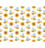 Spring bees and sunflowers seamless pattern isolated on white Royalty Free Stock Photos
