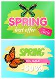 Spring Best Offer Sale Sticker of Green Dragonfly. Spring best offer sale stickers 50 off with large dragonfly butterflies vector advertisement posters set Vector Illustration