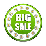 Spring big sale green circle label with flowers Stock Photo