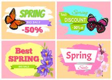 Spring Big Sale Best Discount Preomo Price off set. Spring big sale 50 best discount big deal 30 off set of posters with color butterflies, cherry or sakura Royalty Free Illustration