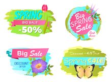 Spring Big Sale Discounts 50 Posters Set Labels. Best choice big spring big sale discounts 50 posters set with decorative labels with butterfly and springtime Royalty Free Stock Images