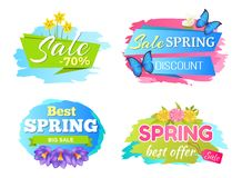Spring Big Sale Discounts 50 Posters Set Labels. Best offer spring big sale discounts 50 posters set with decorative labels butterfly and springtime flowers stock illustration