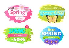 Spring Big Sale Discounts 50 Posters Set Labels. Spring big sale discounts 50 posters set with decorative labels with butterfly and springtime flowers sakura royalty free illustration