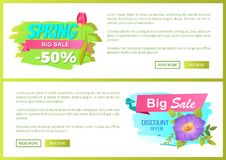 Spring Big Sale 50 Off Advertisement Label Flowers. Spring big sale -50 off advertisement label tulip springtime flowers, cute blooming buds on promo emblems Stock Photography