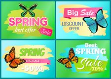 Spring Big Sale 50 Off Labels Set with Butterflies. Spring big sale 50 off labels set with colorful butterflies with ornaments and decorated wings, best spring Royalty Free Illustration