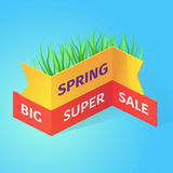 Spring big super sale isometric vector illustration. Spring big super sale vector illustration. Isometric geometric ribbons on blue background Stock Image