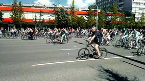 A spring bike ride parade in Moscow