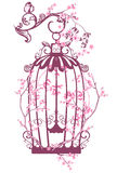 Spring bird cage. Vintage bird cage among blooming tree branches - spring season vector design royalty free illustration