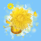 Spring bird nest graphic. Easter arrangement of a young bird, easter eggs in a nest, blossom branches, a some flowers, feathers and a toy wind wheel, all over a Royalty Free Stock Images