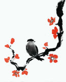 Spring bird. Traditional Japanese ink painting on rice paper Stock Image