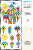 Spring birdhouses visual logic puzzle Royalty Free Stock Images