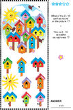 Spring birdhouses visual logic puzzle. What of the 2 - 10 can't be found on the picture 1? Answer included Stock Image