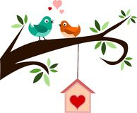 Spring Birds Banner. Two birds in love on spring branch royalty free illustration