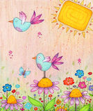 Spring Birds. Colorful illustration of flowers and birds. Made with markers and colored pencils Royalty Free Stock Images