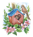 Spring_birds. Hand drawn watercolor illustration - birdhouse with birds, spring flowers and leaves vector illustration