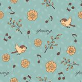 Spring, birds and music. Doodle and cartoon. Seamless pattern. stock illustration