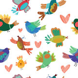 Spring birds seamless pattern. Stock Images