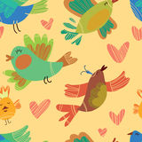Spring birds seamless pattern. Royalty Free Stock Images