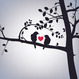Spring Birds on a Tree. With a heart Stock Photo